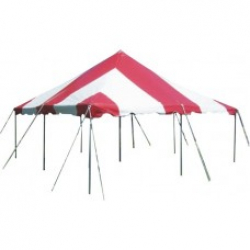 20 x 20 Pole Tent Canopy - Red & White 20 x 20 Pole Tent - installed with walls included